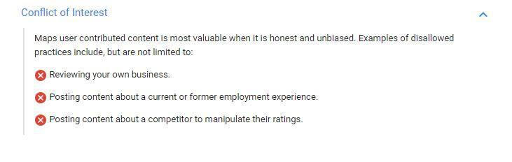 Google's guidelines on business reviews