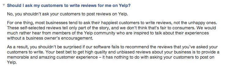 Yelp guidelines for asking customers for reviews