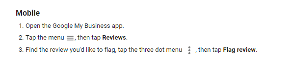 Flag inappropriate reviews on Google My Business App